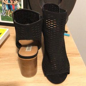 Steve Madden open-toed black booties (size 8)